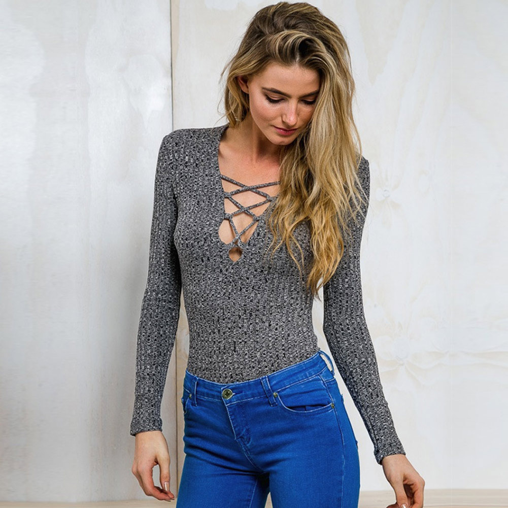 Fashion 2019 Spring Lace Up Sweater Shirts Women Long Sleeve Bandage Knitted Top Pullovers High Elastic Jumper Female Pull Tops