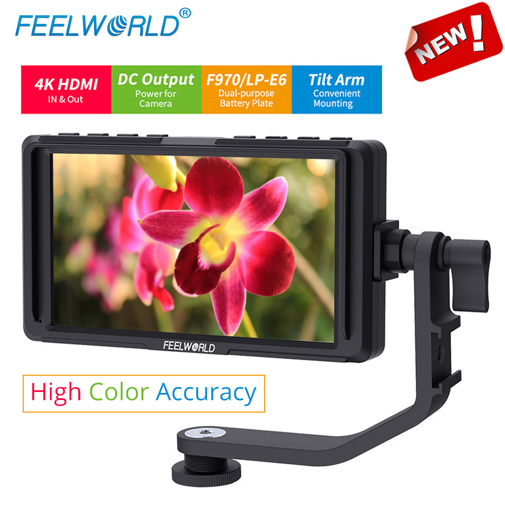 Feelworld F5 5 inch On Camera Field DSLR Monitor Full Small HD 1920x1080 LCD IPS DC Power Output for Camera 4K HDMI Input Output feelworld f7s 7 inch sdi 4k hdmi on camera dslr field monitor full hd 1920x1200 aluminum housing small lcd ips external display
