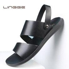 a6c2da13904d4 LINGGE letnie sandały męskie skórzane klasyczny Roman z otwartymi palcami  pantofel na zewnątrz plaża guma lato buty Flip Flop wo.