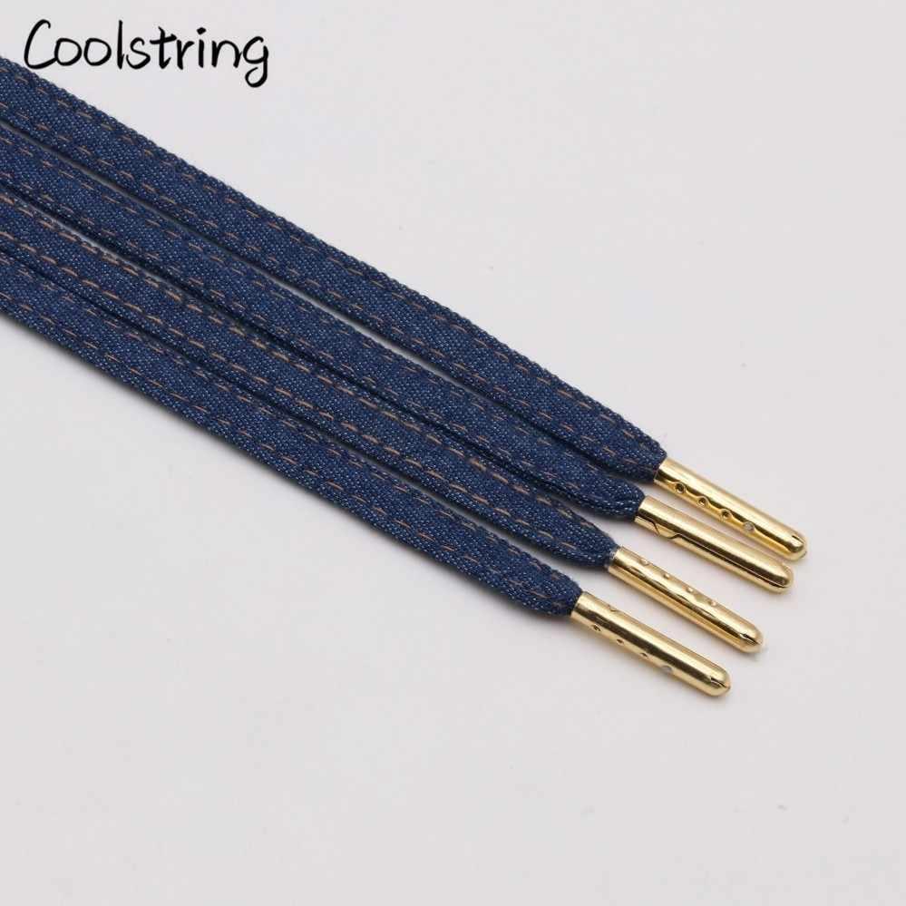 Coolstring 8mm Premium Düz Denim Ayakabı Metal Aglet Klasik Dantel Özelleştirmek Başladı Mavi Siyah Shoestrings Ayakkabı