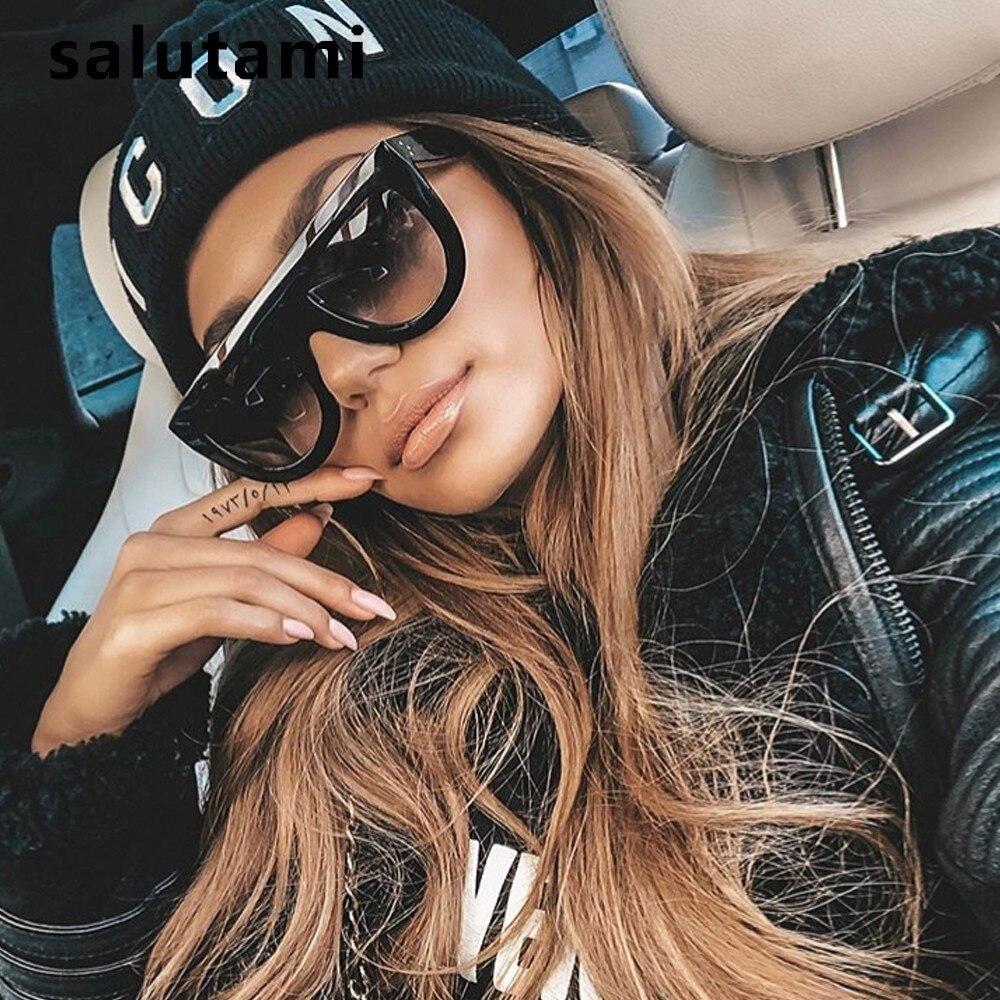 Rivet Kim Kardashian Sunglasses Women Luxury Brand Designer Retro Vintage Sun Glasses Female One Piece Black Flat Top Shades