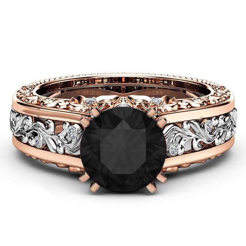 Розовое золото Цвет Винтаж кольца 14 К цветок кубического циркония Обручение кольцо для Для женщин подарок изделия bague femme Для женщин обручальное кольцо