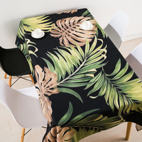Thicken nordic linen tablecloth table cloth garden fresh green leaf simple modern coffee table rectangular cloth home