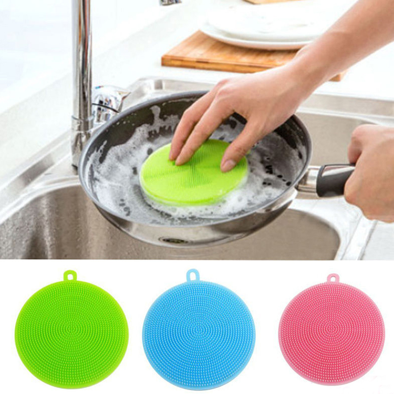 1PC Magic Silicone Cleaning Brushes Home Supplies Dish Pan Easy to Clean Scouring Pads Bowl Popular Wash Brushes