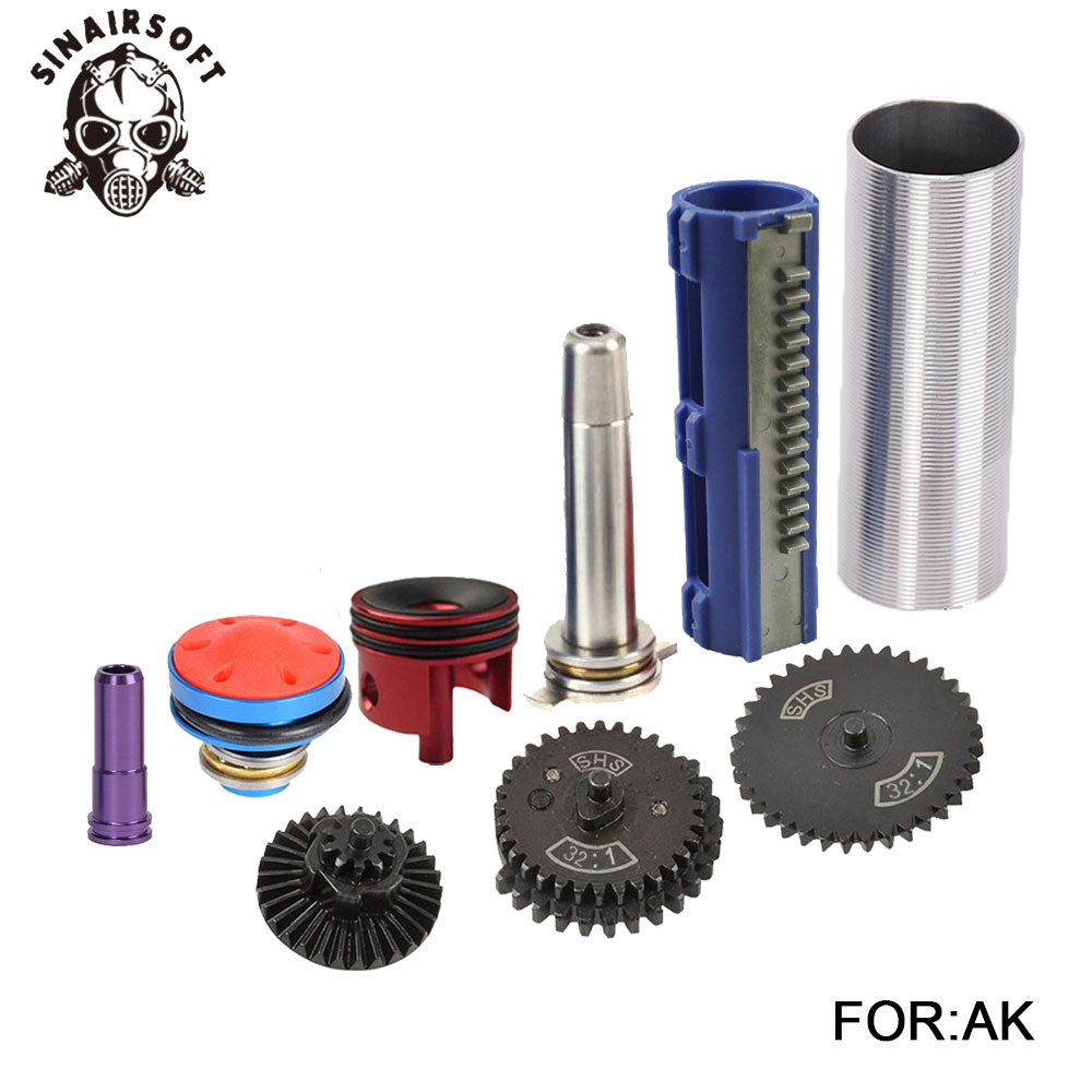 SHS 32 1 Gear Nozzle Cylinder Spring Guide 15 Teeth Piston Kit Fit Airsoft AK MP5