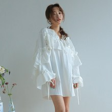купить 2019 New Summer Drawstring Lace Up Mini  Dress Women V Neck Lantern Sleeve Ruffles Shirts Dress Vintage Loose Ribbon Dress онлайн