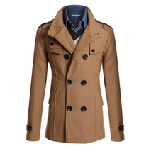 Winter Spring Men Wool Coats Turn Down Collar Business Jackets Double Breasted Slim Woolen Coat Fashion