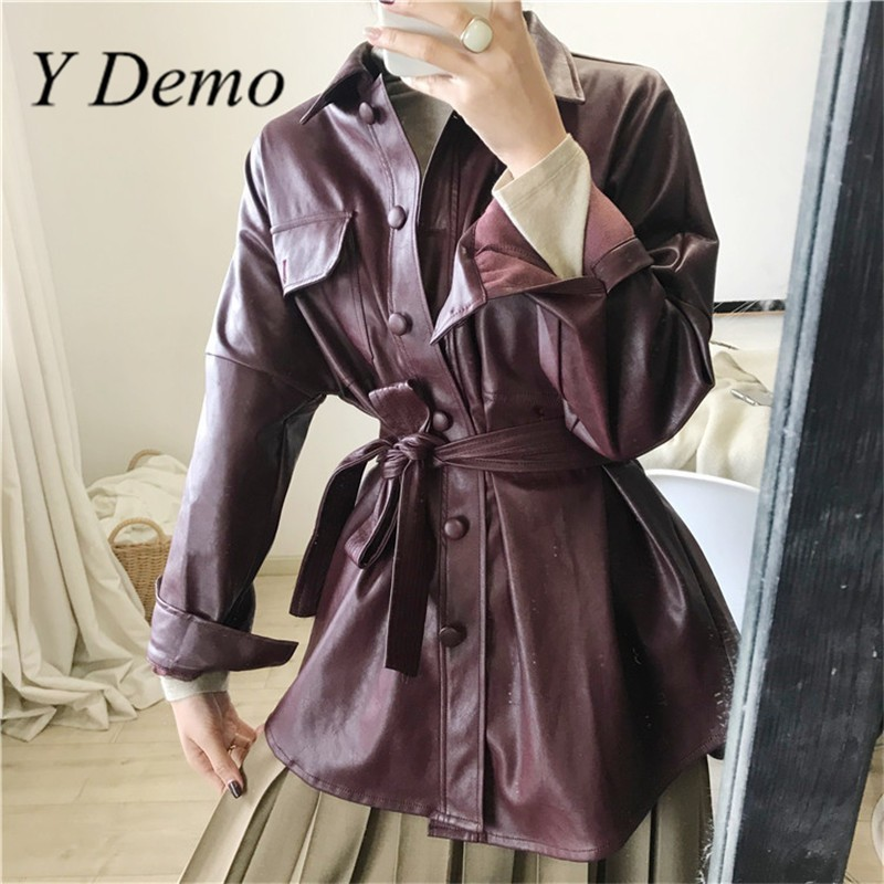 Fashion Loose Pocket PU   Leather   Women Jacket Fashion Long Sleeve Casual Chic Long Coat