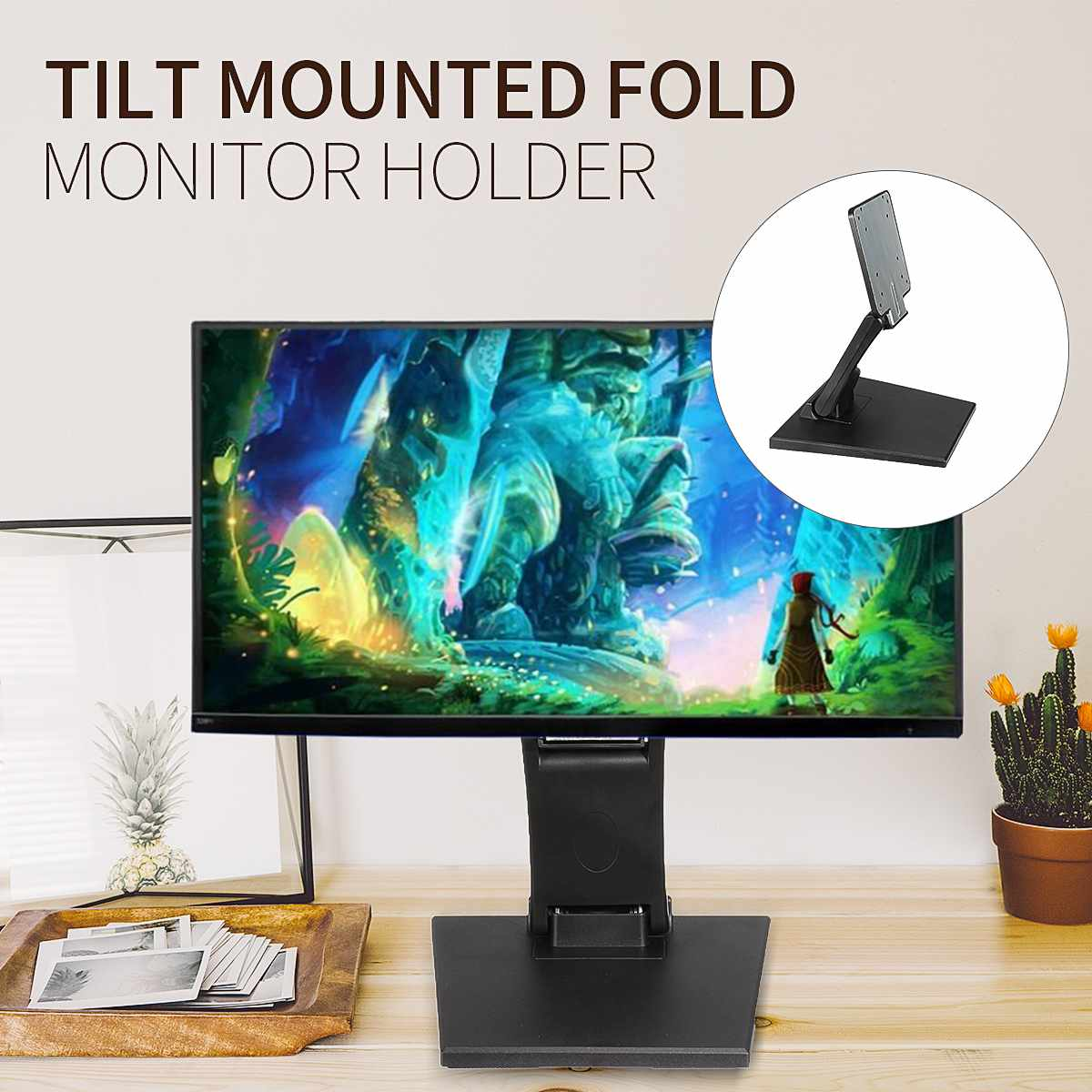 1Pcs Plastic Tilt Mounted Fold Monitor Holder Rotated For 10 27 Inch LCD Display Screen Stand