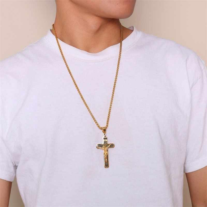 United States Catholic Jesus Christ on INRI Cross Crucifix Stainless Steel Pendant Necklace in Golden 20inch