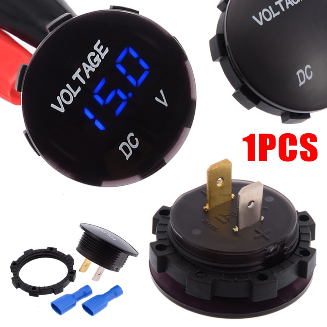 1pcs DC 12V 24V Car Motorcycle LED Panel Auto Boat Digital Display Volt Voltage Gauge Meter Blue Red Green 3 Colors Selected in Volt Meters from Automobiles Motorcycles