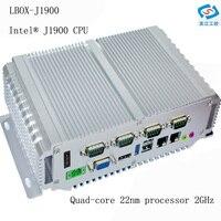 Низкая цена безвентиляторный мини промышленного ПК с 4G RAM 6 4G SSD Intel четырехъядерный Celeron J1900 Процессор 5 * USB 4 * COM x86 мини компьютер