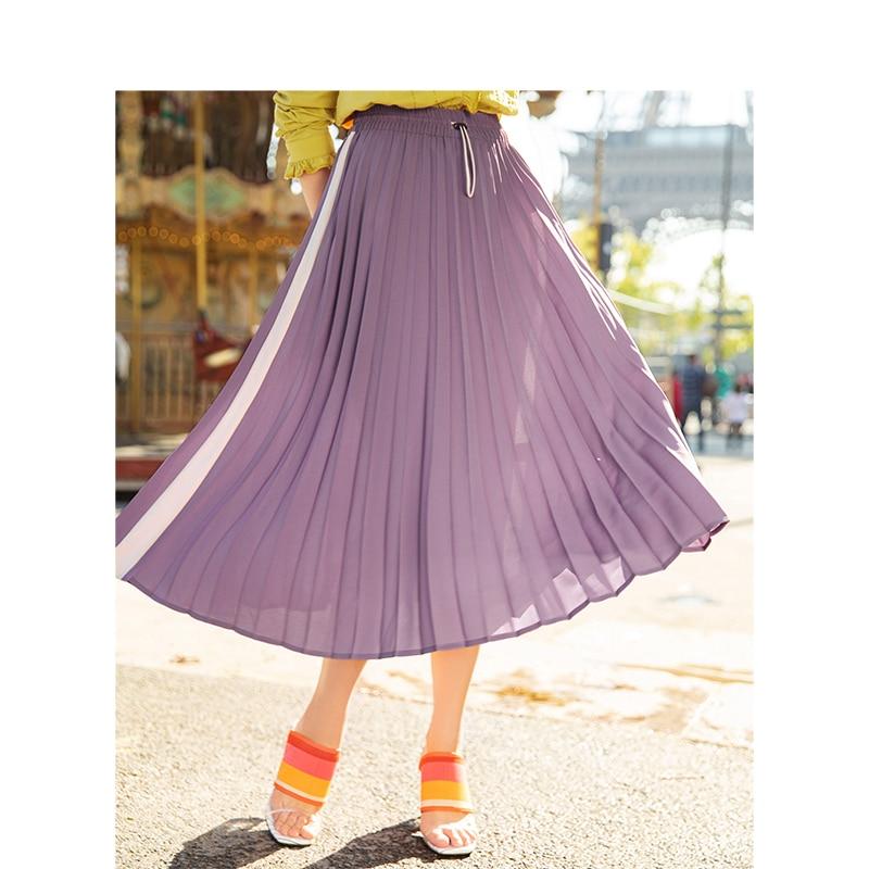 Image 3 - INMAN Spring Autumn High Waist Slim Literary Retro Casual All match Women A line Pleated Long SkirtSkirts   -