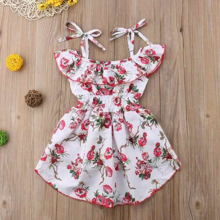 457221987e35 ... Toddler Kids Baby Girl Off The Shoulder Dress Floral Summer Cute Romper  Jumpsuit Playsuit Dresses Clothes