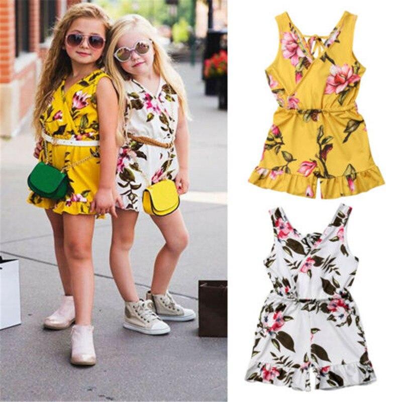 Ruffles V-Neck Romper for Toddler Girl Floral Skirt Sleeveless Loose Short Dress for 0-24M