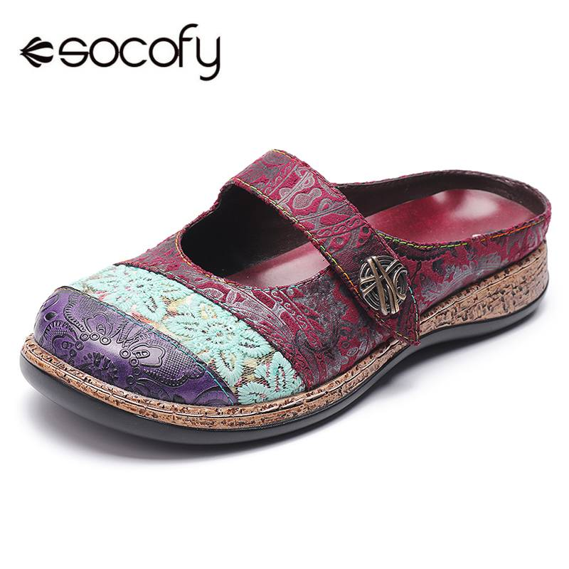 SOCOFY Big Head Genuine Leather Splicing Cloth Retro Veins Comfortable Hook Loop Shoes Elegant Ladies Shoes 2019 Spring NewSOCOFY Big Head Genuine Leather Splicing Cloth Retro Veins Comfortable Hook Loop Shoes Elegant Ladies Shoes 2019 Spring New