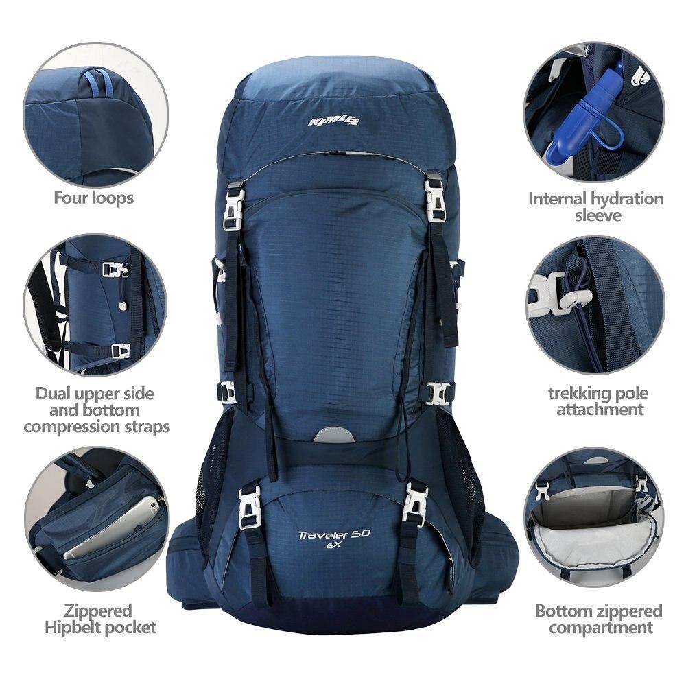Kimlee 50L Camping sac à dos avec couverture de pluie randonnée escalade ski sac 210D étanche tactique sac à dos militaire sac à dos