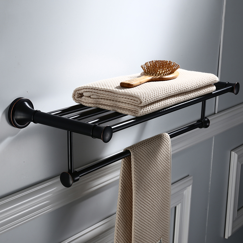 Towel Racks Brass Made BathroomTowel Rack with Shelf Movable Black Towel Holder Double Bathroom AccessoriesTowel Racks Brass Made BathroomTowel Rack with Shelf Movable Black Towel Holder Double Bathroom Accessories