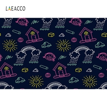 Laeacco Summer Black Backdrop Hand-drawn pattern Photography Backgrounds Customized Photographic Backdrops For Photo Studio