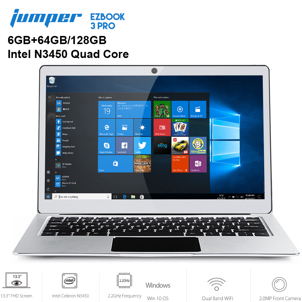Original Jumper EZBOOK 3 PRO 13.3 inch Notebook Windows 10 Intel Apollo Lake N3450 6GB RAM 64GB/128GB Laptop eMMC HDMI Dual WiFi