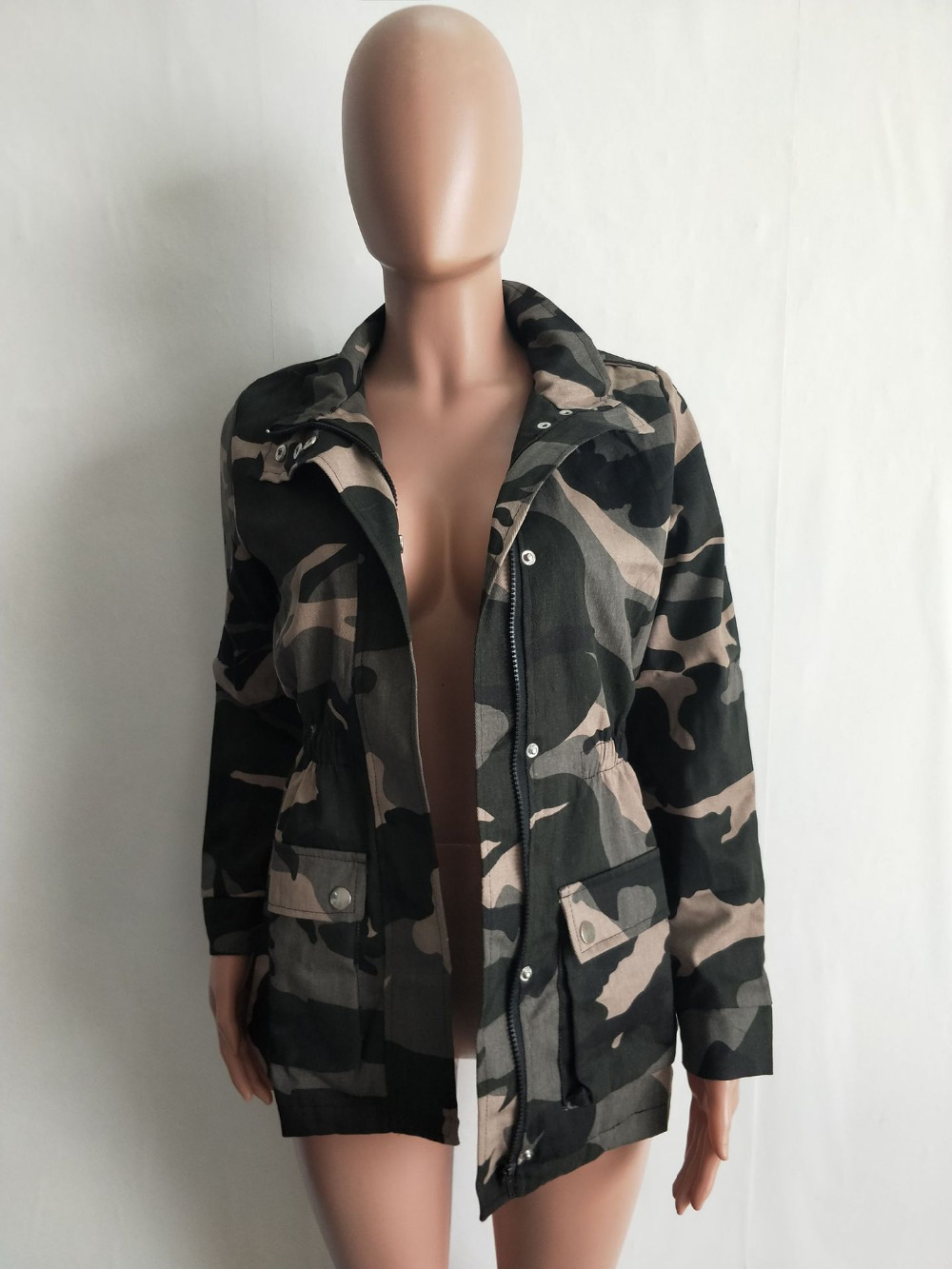 Femelle Veste Manteau Army Militaire Poche Camouflage De 2019 Streetwear Élégant Mode Femmes Automne Conception Green À Fermeture Éclair wRfBRpxAq0