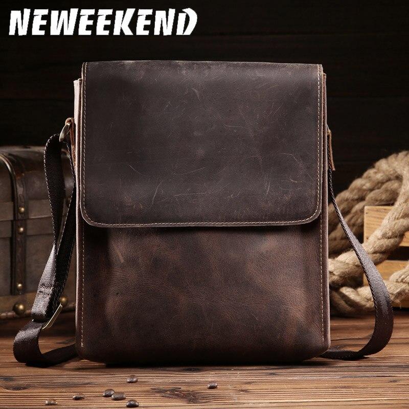 NEWEEKEND Retro Genuine Leather Cowhide Crazy Horse Shoulder Messenger Bag Crossbody IPad Briefcase Portfolio Sling Handbag 8069
