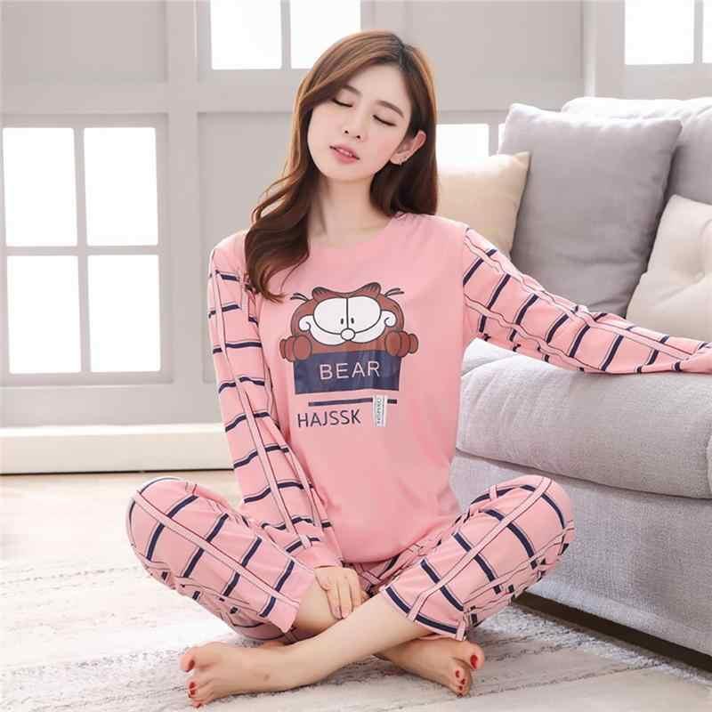 818253037 Home Winter And Autumn Comfortable Cotton Fabric Cartoon Cute Animal Long-Sleeved  Pajamas Set Practical