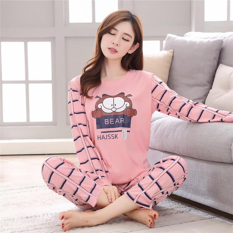 Home Winter And Autumn Comfortable Cotton Fabric Cartoon Cute Animal Long-Sleeved   Pajamas     Set   Practical Durable Home Service   Set