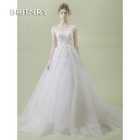 BRITNRY 2019 A Line Bride Dress Long Sleeve Sweep Train Plus Size Wedding Dresses Pretty Embroidery Lace Arabic Wedding Dress