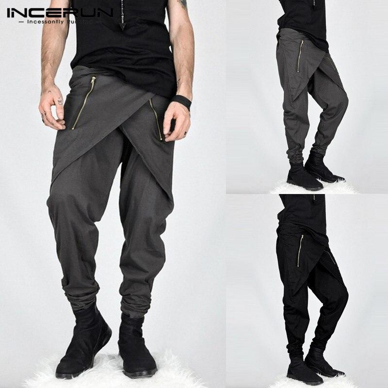 INCERUN 2019 New Fashion Irregular Men Harem Pants Joggers Hiphop Zipper Streetwear Trousers Men Baggy Casual Pants Hombre S-5XL