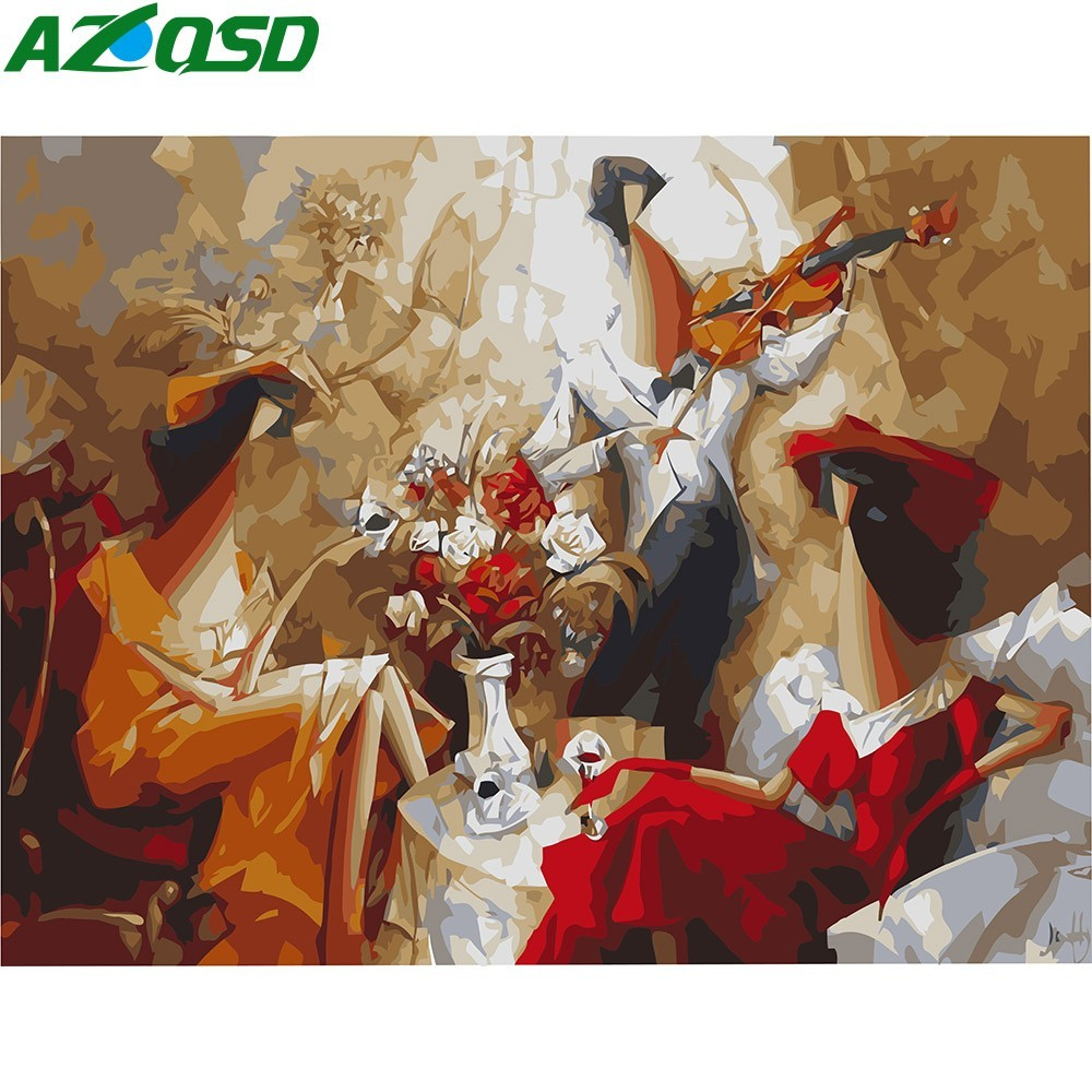 AZQSD Abstract DIY Oil Painting By Numbers Music Hand Painted Canvas Wall Picture Wall Art Home Decoration K709