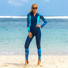 Sbart New One-piece Wetsuit Female Printing Quick Dry Diving Suit Long-sleeved Surfing Uv Protection Jellyfish Scubadiving