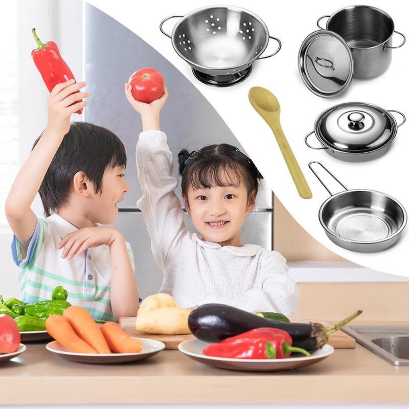 12pcs/Set Kids Kitchen Food Toys Girls Mini Pretend Play Tools Children Kitchen Stainless Steel Cooking Pots Pans Food Toys Kit