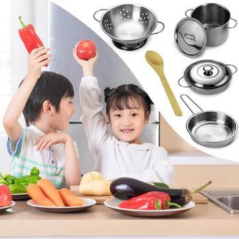 12 unids/set niños cocina juguetes chicas Mini juego de herramientas niños cocina de acero inoxidable ollas sartenes juguetes Kit