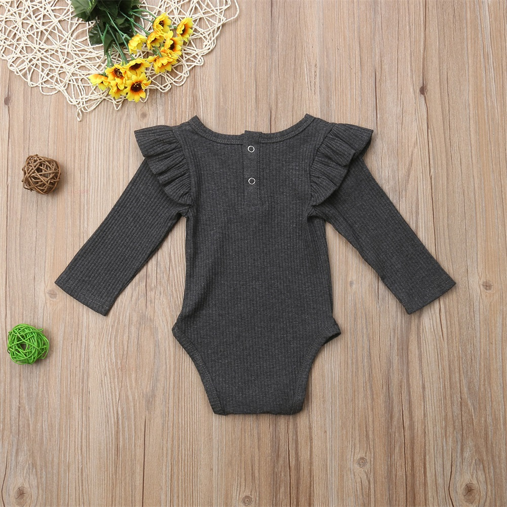 2020 Brand New Newborn Infant Kids Baby Girls Boys Autumn Causal Bodysuits Ruffles Long Sleeve Solid Warm Jumpsuits Outfit 0-24M 6
