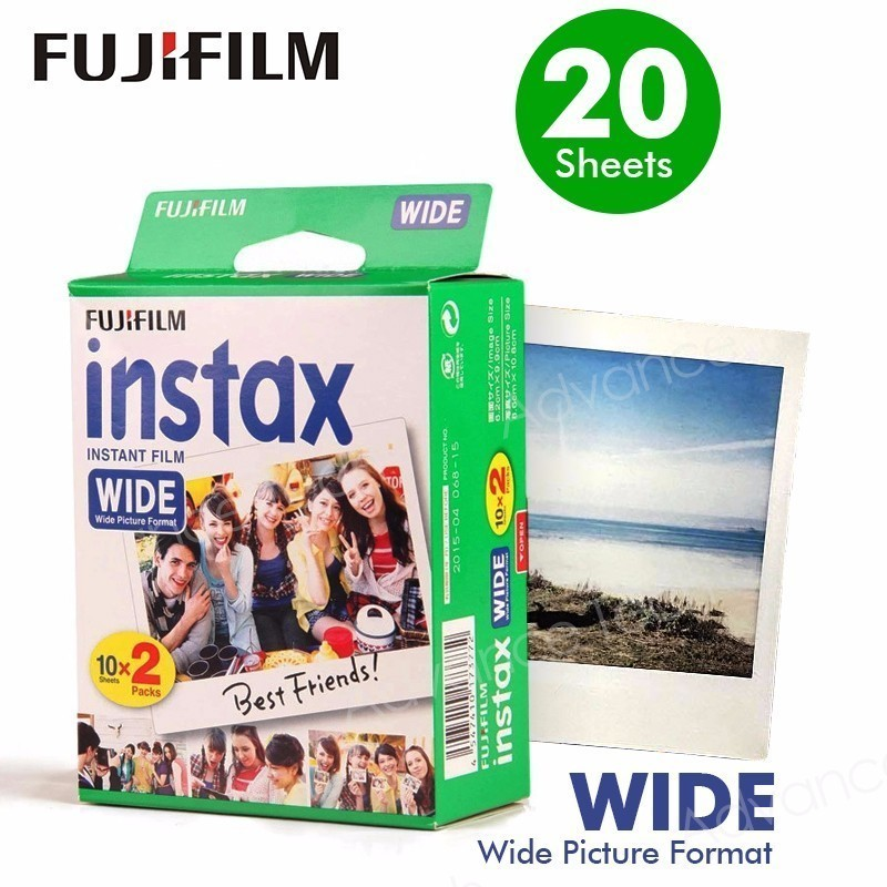 Genuine Fujifilm Instax Wide Film White 20 Sheets For Fuji Instant Photo Camera 300/200/210/100/500AF Free Shipping 60 films fujifilm instax rainbow wide instant white edge for fuji camera 100 200 210 300 500af lomography photo