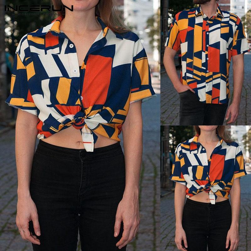Boho Ethnic Hawaiian Camisa Hombre Casual Shirts Men Tee Tropical Geometric Short Sleeve Slim Fit Lapel Shirt Fashion Clothes