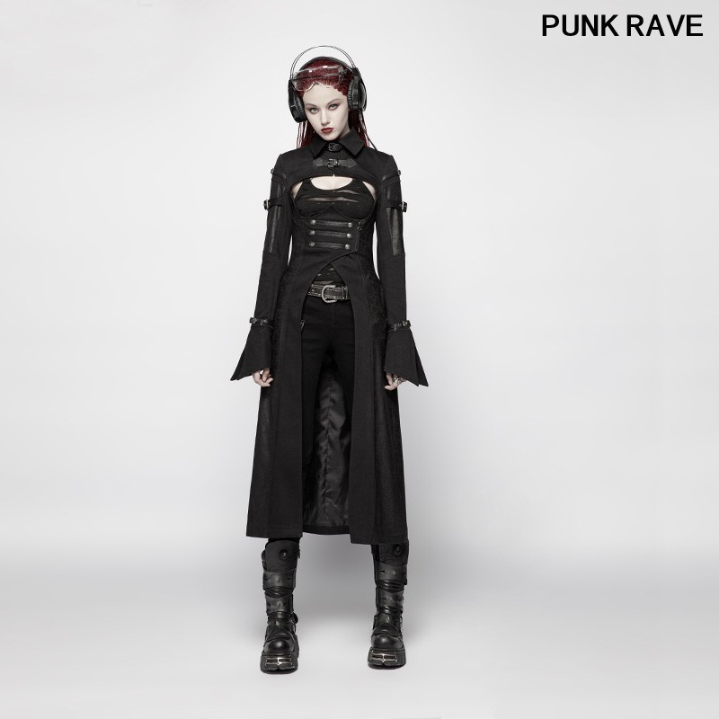 Gothique futuriste personnalité longue veste populaire militaire affichage noir ouvert buste lier sexy femmes manteau PUNK RAVE WY-981XCF