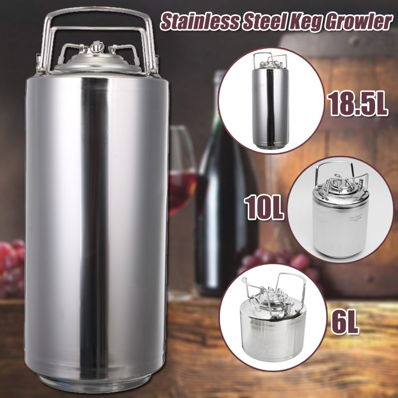 6/10/19L Stainless steel Ball Lock Beer Keg Growler for Craft Beer Dispenser System Home Brew Beer Brewing Metal Handles6/10/19L Stainless steel Ball Lock Beer Keg Growler for Craft Beer Dispenser System Home Brew Beer Brewing Metal Handles