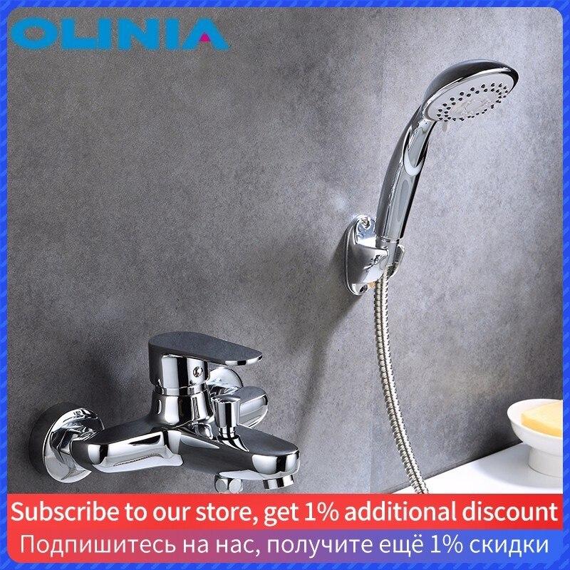 Olinia sistema Conjunto Chuva Torneira Do Chuveiro cabeça de chuveiro Do Banheiro Contemporânea Mixer Fria E Quente Único Titular OL7132