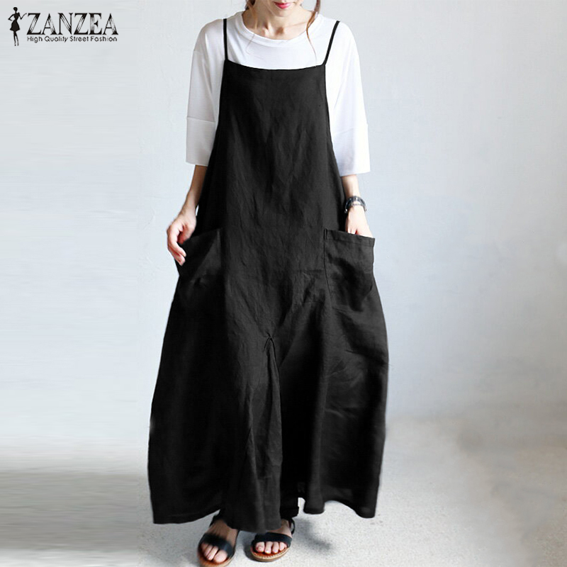 ZANZEA Summer Vintage Party Maxi Sarafans Women Casual Solid Strappy Long Overalls Dress Cotton Linen Pockets Baggy Robe Vestido
