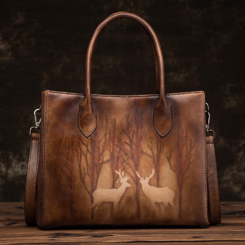 Natural Skin Cross Body Messenger Shoulder Bag Tote Deer Pattern High Quality Women Genuine Leather Top