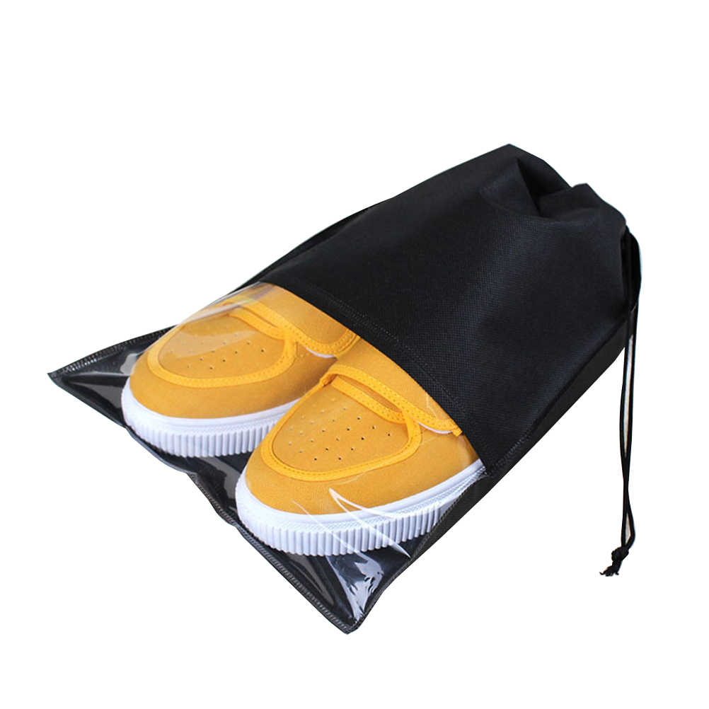 10pcs Blank Drawstring Non-woven Slippers Bag Transparent Travel Storage Space Saving Clothing Seal Organizer Bags(Black)