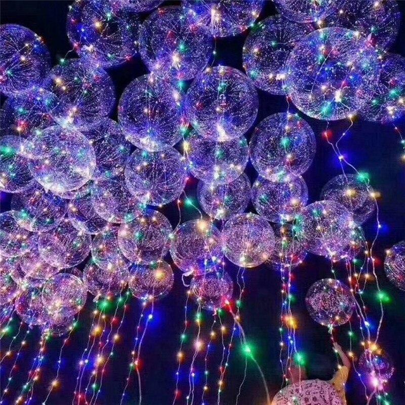 18inch Led Lights Decoration Glowing Balloons Luminous Transparent Helium Light Up Balloons Wedding Birthday Party Decor P20