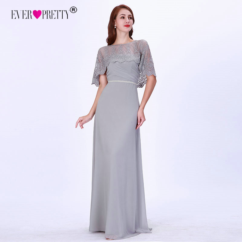 Lace Grey Mother Of The Bride Dresses Long A-LIne Half Sleeve Appliques Elegant Wedding Party Dresses Formal Party Dresses 2019