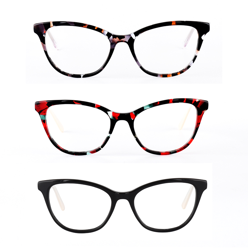 New fashion women glasses frame solid eyeglasses acetate spectacles black cat eye glasses eyewear