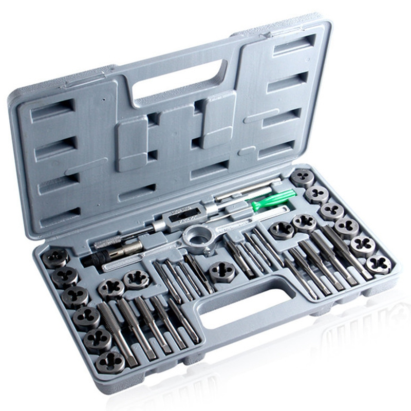 40Pcs Tap Die Set Hand Thread Plug Taps Handle Alloy Steel Inch Threading Tool With Case40Pcs Tap Die Set Hand Thread Plug Taps Handle Alloy Steel Inch Threading Tool With Case