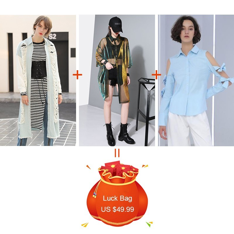 CHICEVER 3 Pieces/lot Clearance Hole Denim Trench Coat Female Half Sleeve T Shirt Off Shoulder Irregular Blouse 2019 Fashion New