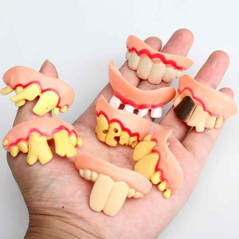 Prank Startle diş cadılar bayramı korkunç çarpık canavar diş yenilik oyuncak çocuk yetişkin korku dişleri pratik şakalar oyuncaklar
