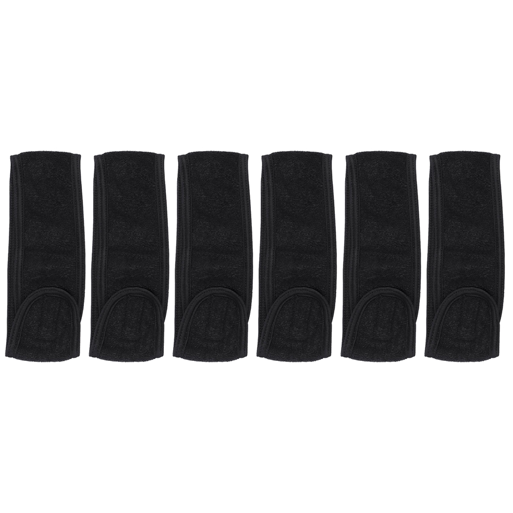 6pcs Womens Headband Head Wrap Stretchy Bandeau With Touch Fastener For Bath Makeup Sports (Black)